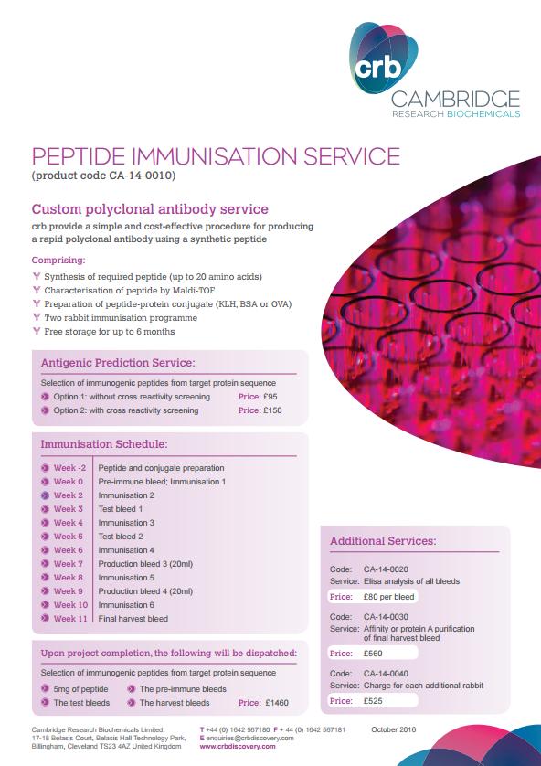 Peptide Immunisation Service - GBP